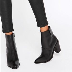 ASOS 'Effie' Genuine Black Leather Ankle Boots